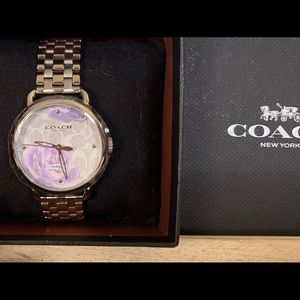Coach Purple Peony Stainless Steel Linked Watch